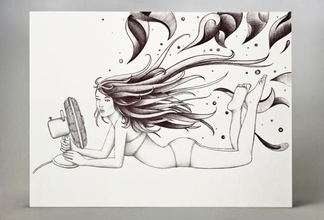 Formato: 30×23 cm su carta; penna a sfera nera.