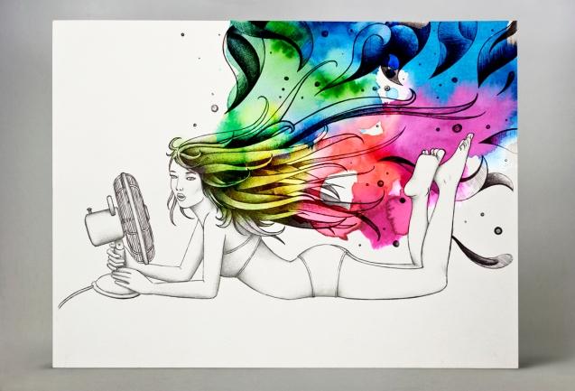 Formato: 30×23 cm su carta; penna a sfera nera + acquerello digitale.