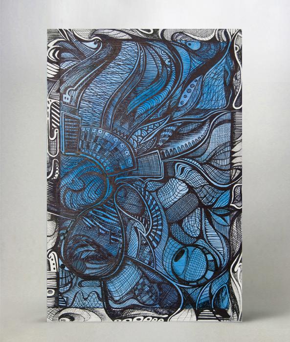Formato: 20x30 cm su cartoncino telato; colori acrilici e marker nero.