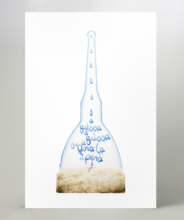 Acquerelli e penne a sfera colorate su carta da acquerello in formato A3.