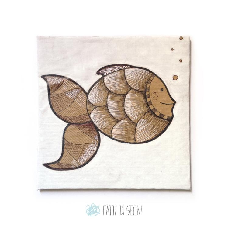 quadro su cartone rivestito di carta da pacchi realizzato con penne a sfera e pennarelli.